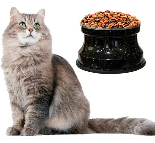 Imagem 1 de 3 de Comedouro Alto Para Gatos  Alumínio Preto Gastrobel + Brinde