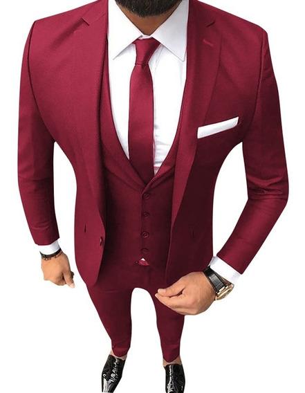Trajes Hombre Importados Entallados Con Camisa Elastizada