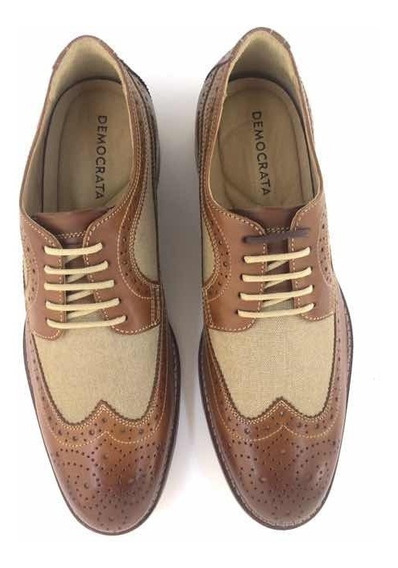 Sapato Masculino Democrata Garner Brogue Derby Tan 134107