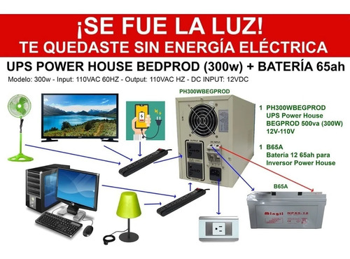 Imagen 1 de 4 de Ups Power House De 300w Mas Bateria De 12v 65ah