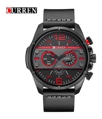 Relógio Curren Original Mod 8259 Preto E Vermelho Em Couro