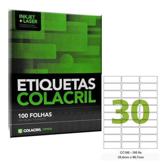 Etiqueta Adesiva Carta Cc180 25,4x66,7mm 100 Folhas Colacril