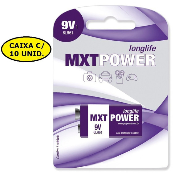 Kit 10 Bateria 9v Mxt Power Longlife Alcalina