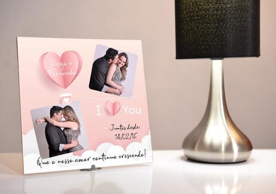 Porta Retrato Personalizado De Azulejo Dia Dos Namorados
