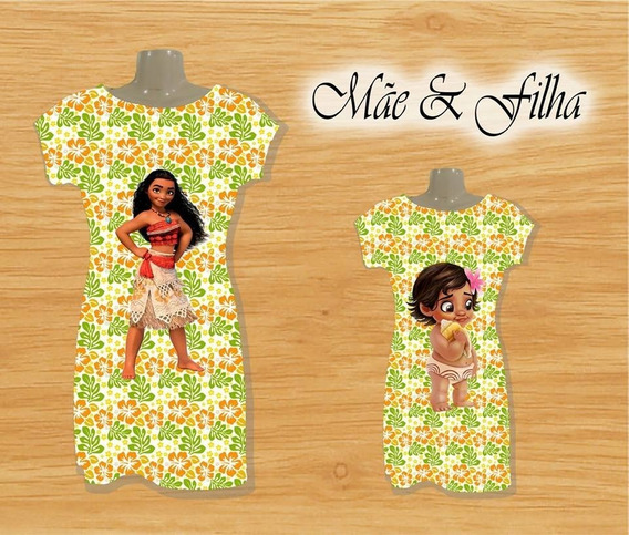 Vestido De Festa Mãe E Filha Moana Baby Sublimados (kit)