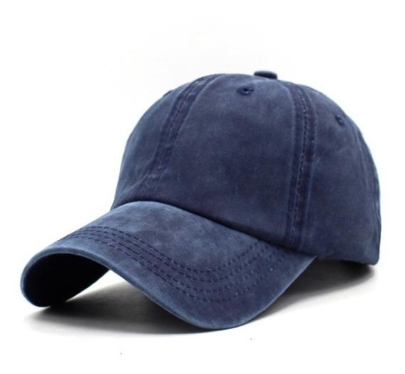 Boné Azul Marinho Liso Regulagem Aba Curva Ajustável Fivela