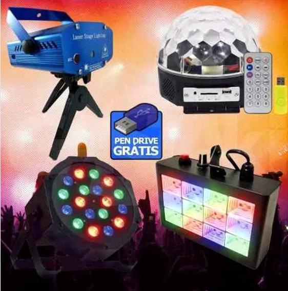 Kit Festa Dj Iluminação Bola Maluca Led Par Strobo Rgb Laser