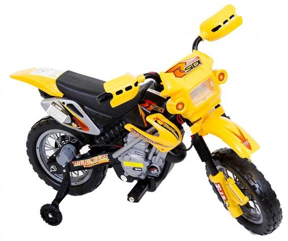 Moto Cross Elétrica Infantil 6v Farol E Buzina Belfix
