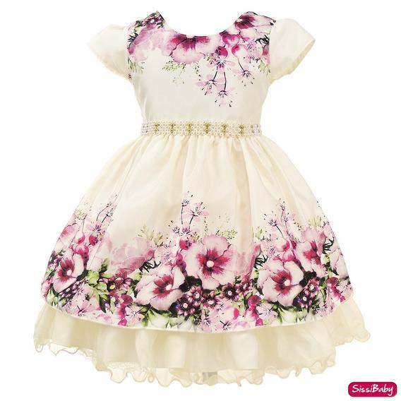 Vestido Festa Infantil Jardim Encantado Princesa Luxo 1 A 3