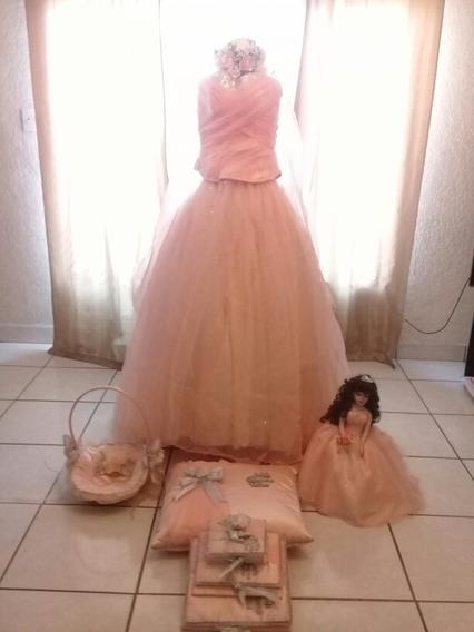 Paquete Para Quinceañera (vestido,muñeca,canasta,ramo,libros