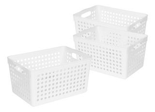 Set 3 Canasto Organizador Cesto Plástico Colombraro Orbital