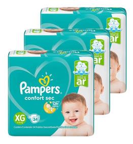 Fraldas Pampers Confort Sec Mega 3 Pacotes Tamanho Xg