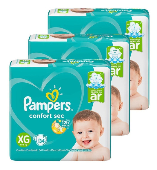 Fralda Pampers C. Sec Mega 3 Pct Tam. Xg + 1 Lenço Umd 48 F