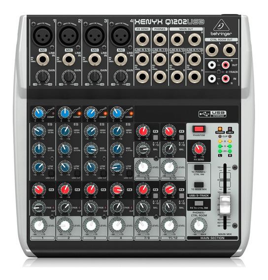 Mesa De Som Behringer Mixer Xenyx 110v Q1202 Usb Mixagem