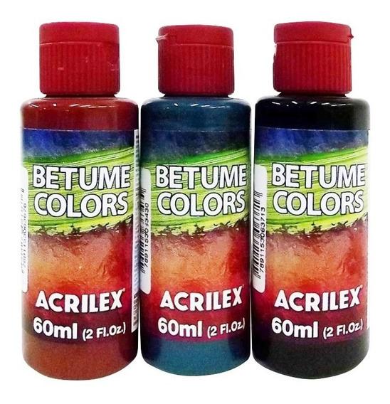 Betume Colors Acrilex 60ml - Pacote C/ 5 Unidades Coloridas