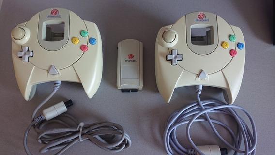 2 Controles Originais Dreamcast + Vmu 400 Blocos