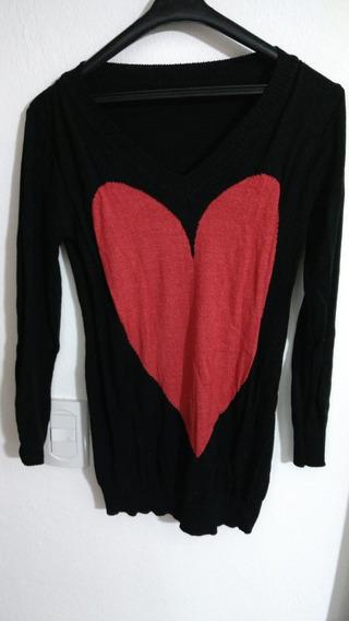 Sweater Largo Negro Corazón En Rojo O Suela Escote En Vm