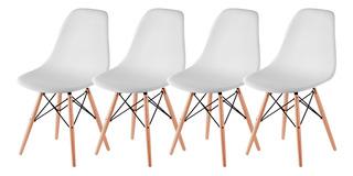 Sillas X 4 Comedor Plastico Patas De Madera Diseño Eames Dsw