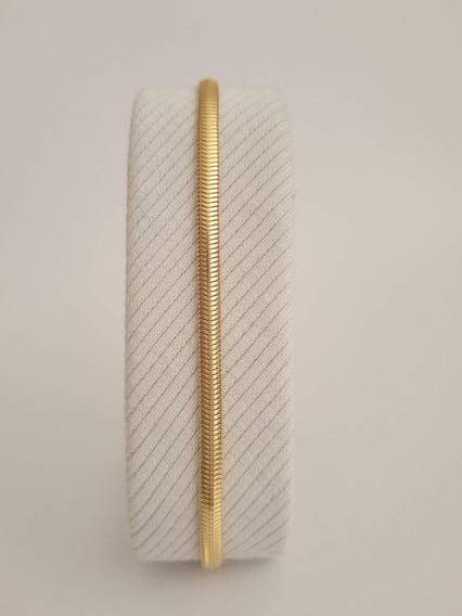 Pulseira Lisa Grossa 3mm Largura Banhado Ouro 18k Semijoia