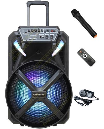 Imagen 1 de 10 de Parlante Karaoke Portátil 15'' Bluetooth Micrófono Inalámb.