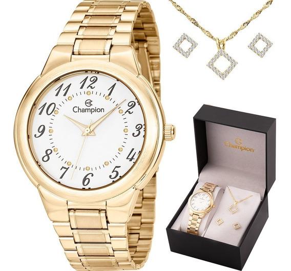 Relógio Champion Feminino Com Colar E Brincos Ch22368w