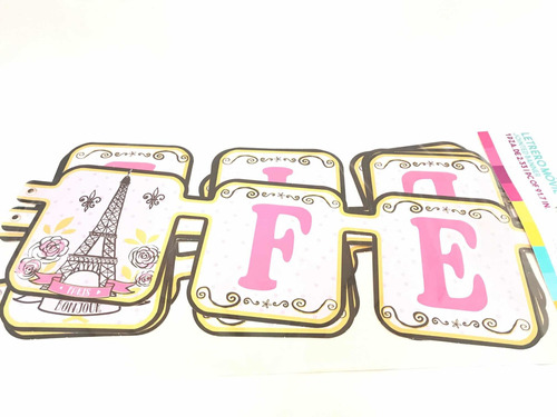 Imagen 1 de 5 de Letrero Movil Feliz Cumpleaños Paris Diva Moda Eiffel Oro Gm