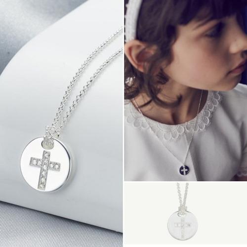 Imagen 1 de 2 de Collar De Plata 950 Dije Cruz Niñas Mujer Bautizo Comunion