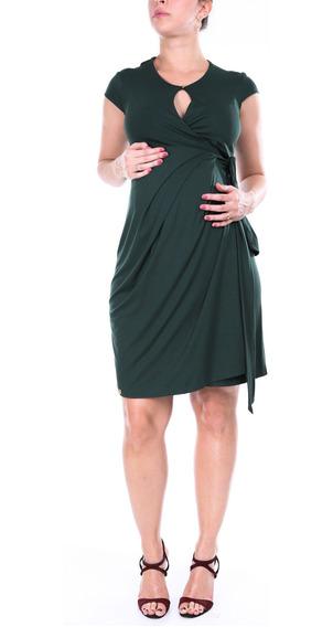 Vestido Gestante Envelope Verde Musgo