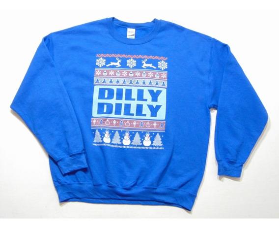 Sudadera Azul Dilly Dilly Navidad Renos Sweater