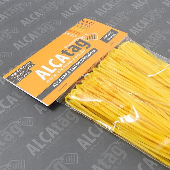 Alça Tag Bagagem Silicone -16 Cm - Cordão Amarelo 100 Und