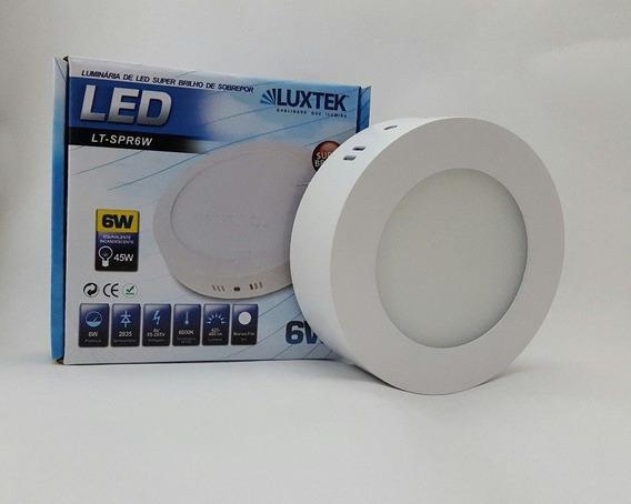 10 Un - Luminária Plafon Led 6w Sobrepor Redonda