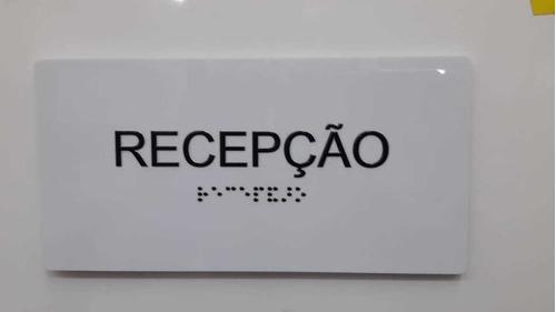 1pç Placa Secretaria, Recepção, Sala De Aula Em Braille