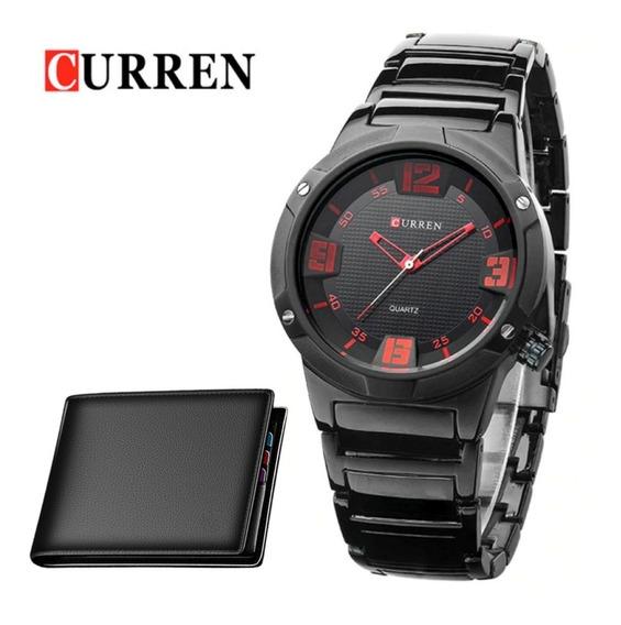Relógio Masculino Curren Original Preto Vermelho + Carteira