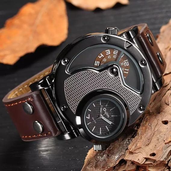 Relógio Oulm Clássico Original Pulseira De Couro