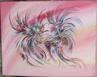 Hermosa Pintura Al Óleo - Pelea De Gallos