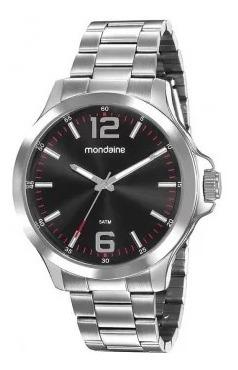 Relógio Mondaine Masc Prata Fundo Preto, 99420g0mvne2