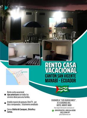 Rento Casa Vacacional En San Vicente, Manabì - Ecuador.