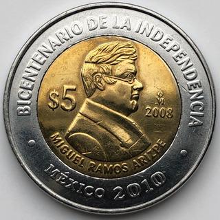 Mex19179 México 5 Pesos Miguel Ramos Arizpe 2008 Au-unc Ayff
