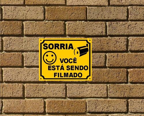 3 Placas Sorria Você Esta Sendo Filmado Monitorado Protegido