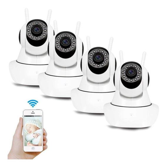 Kit 4 Câmera Segurança Ip Hd 720 Sem Fio Wifi P2p Áudio Sd
