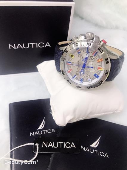 Relogio W330 Nautica Branco Pulseira Couro