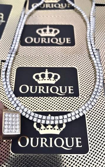 Corrente Riviera Ouro 18k Com 228 Diamantes Máquina 3d Luxo