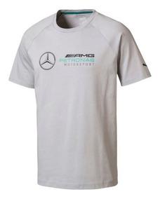 Camiseta Puma Mercedes Amg Petronas Logo Cinza E Preta