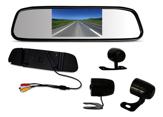 Kit Espelho Retrovisor Monitor Com Camera De Re Tela Lcd 4,3