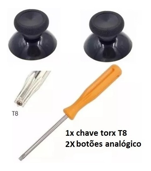 Par Botão Analógico Controle Xbox One + 1 Chave Torx T8 Furo