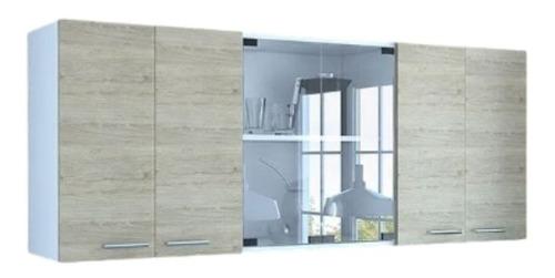 Gabinete Superior De Cocina Vidrio Blanco/rovere