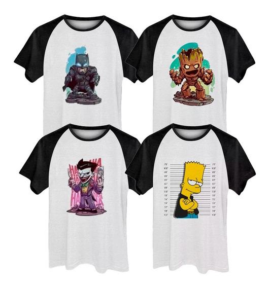 Kit 6 Camisetas Raglan Masculina Plus Size Estampadas Até G6