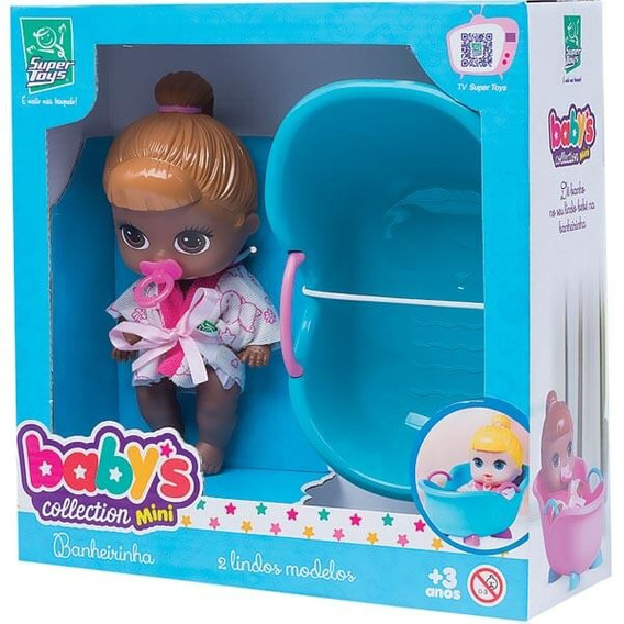Boneca Babys Colletion Mini Banheira Negra - Super Toys