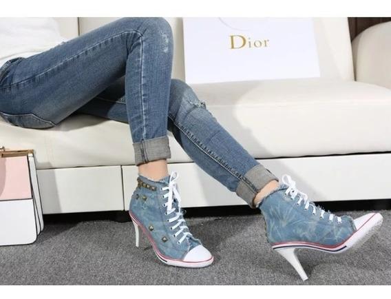 Scarpin Tênis Salto Jeans Moderno Lindo Pronta Entrega 4 Cor