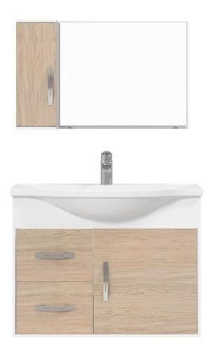 Conjunto Gabinete Espelheira Apus 80 Branco Berlim - Cerocha